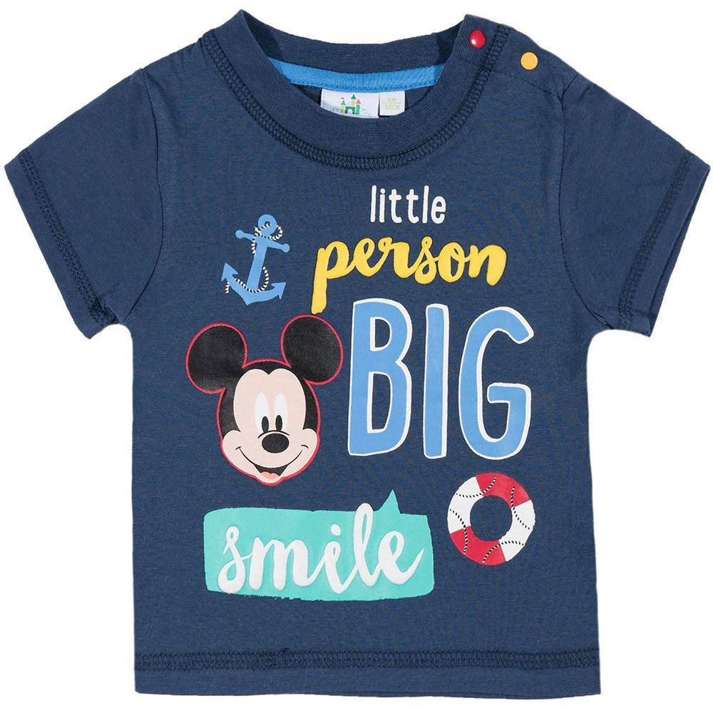 b0a9db56b8 Big smile Mickey éjkék póló - Mesefigurás Rajzfilmhős Webáruház