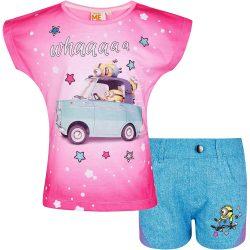 Minyon autós pink-kék szett