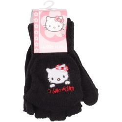 Hello Kitty fekete visszahajtható kesztyű