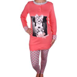 Minnie női korall-pöttyös pizsama
