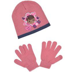Dr Plüssi rózsaszín sapka-kesztyű szett