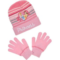 Princess csíkos rózsaszín sapka-kesztyű szett