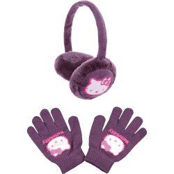 Hello Kitty lila állítható fülvédő szett
